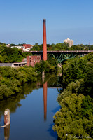 Genesee River Smoke Stack Reflection